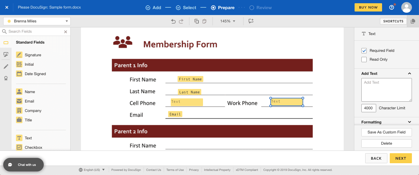 Creating a fillable PDF form with DocuSign's field tools