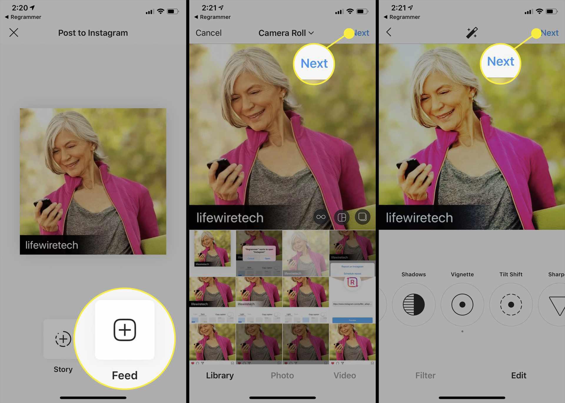 تطبيق Instagram على iPhone.