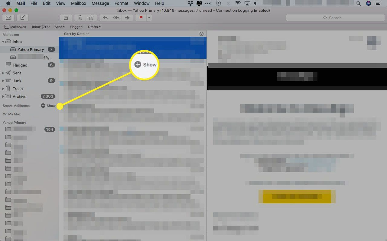 Smart Mailboxes location in Mac Mail