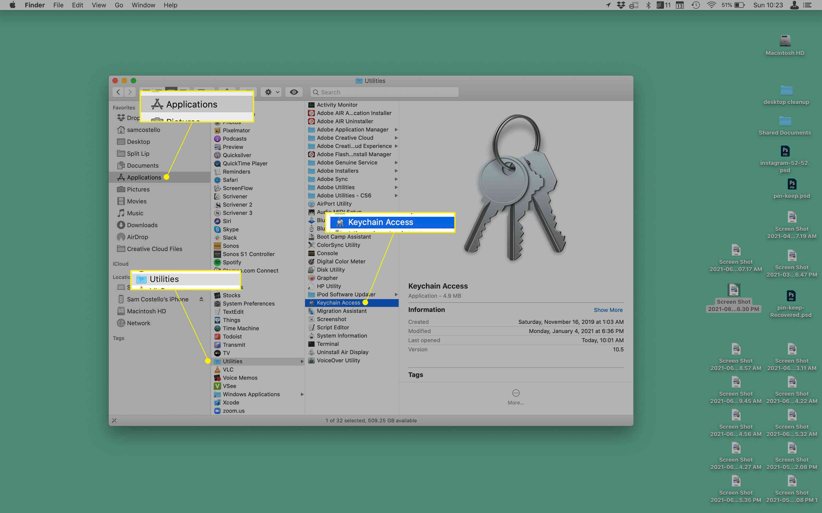 Mac desktop with the Utilities folder open and Keychain Access highlighted