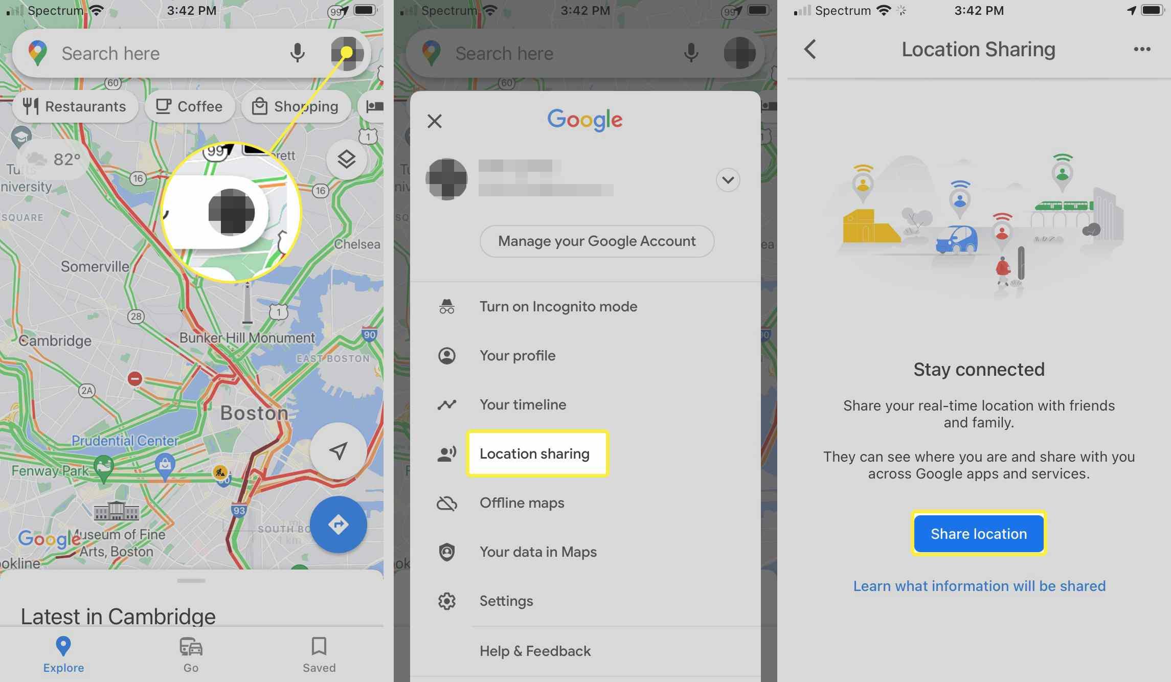 iOS Goolge Maps Location Sharing