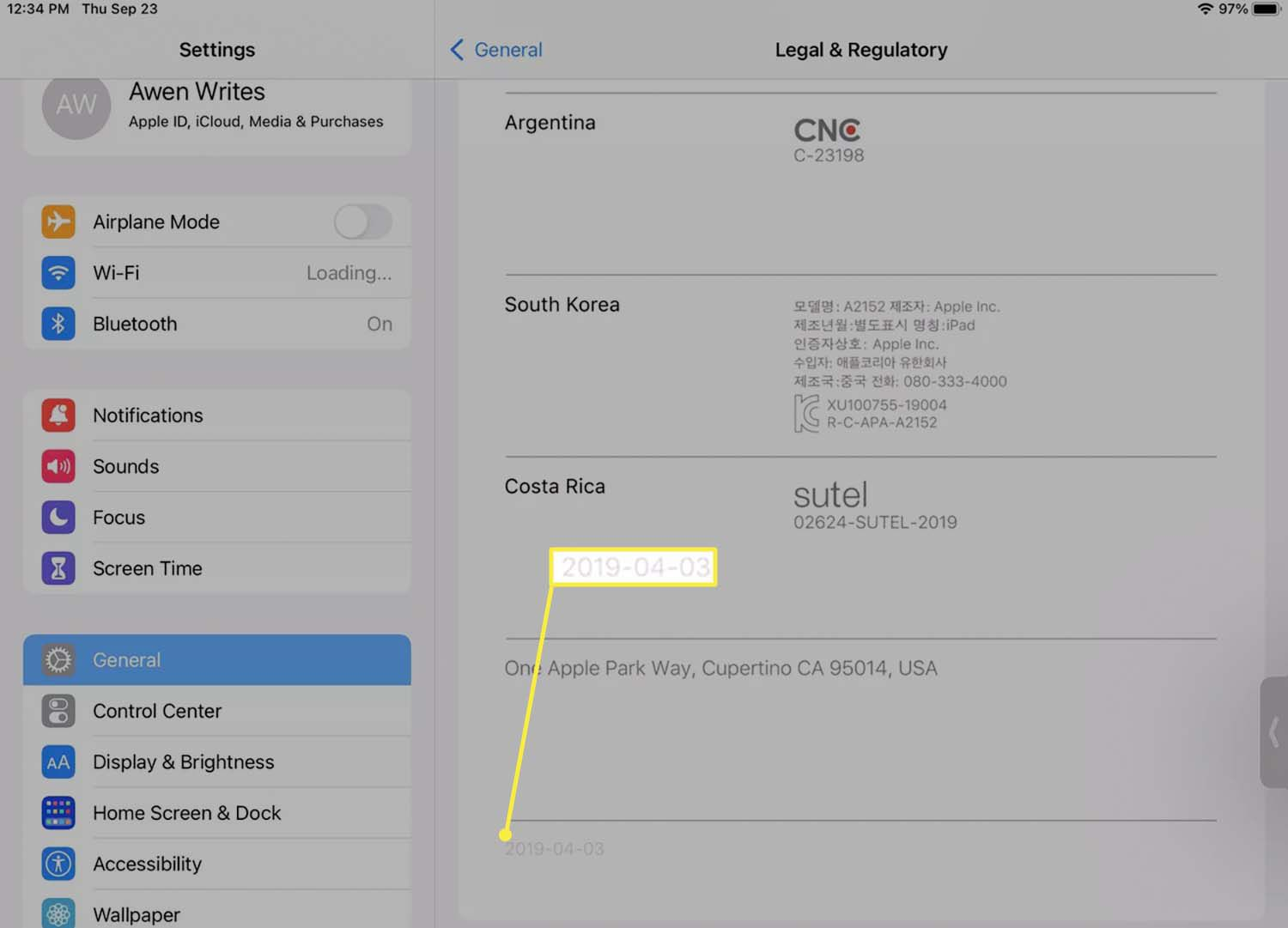 The year an iPad was sold from the Legal & Regulatory section of iPad settings.