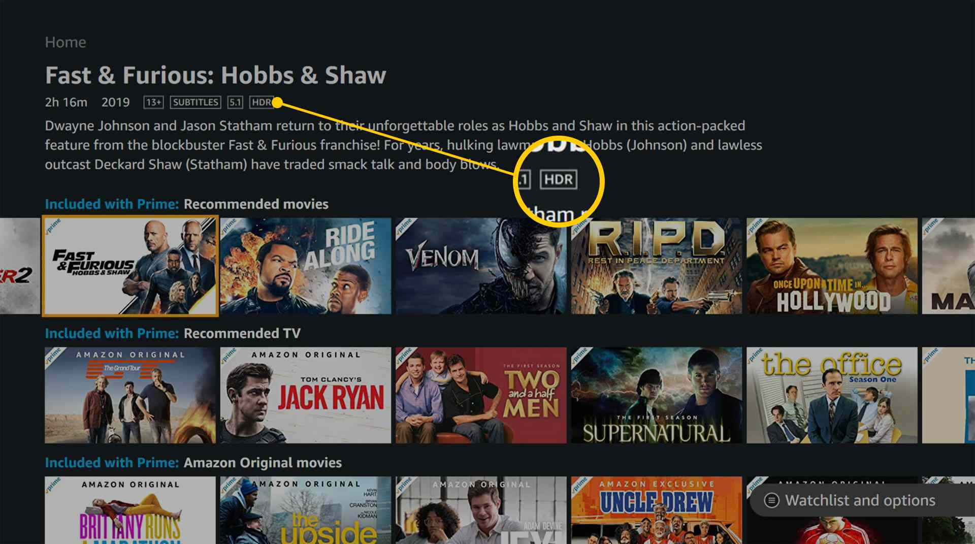 Amazon Prime Video Xbox One app with HDR tag