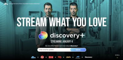 Discovery Plus home page.