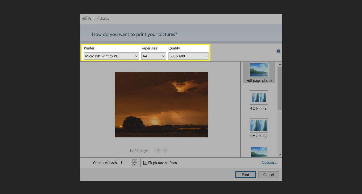 Windows Print Pictures dialog box with Microsoft Print to PDF selected.