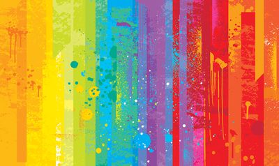 Bright multi-colored background with a grunge texture and grafitti paint drops.