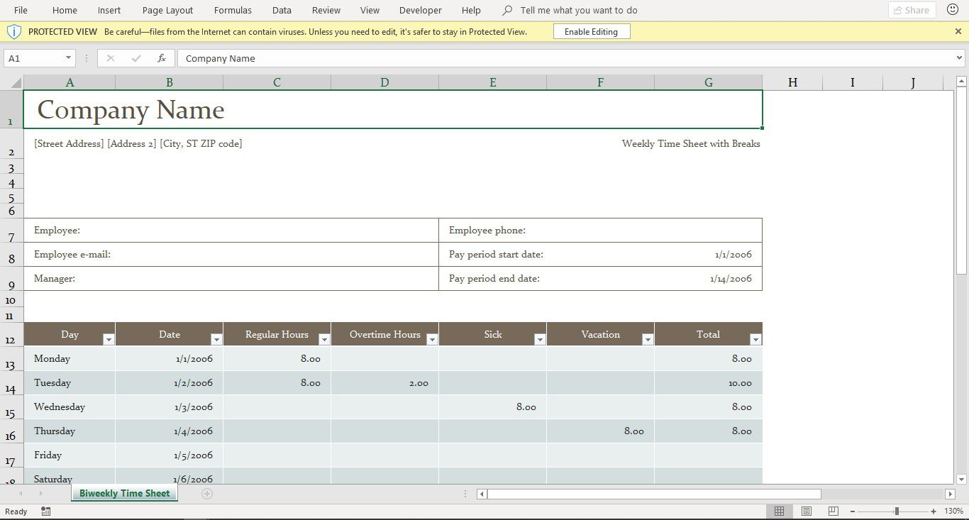 a screenshot of the free excel timesheet template