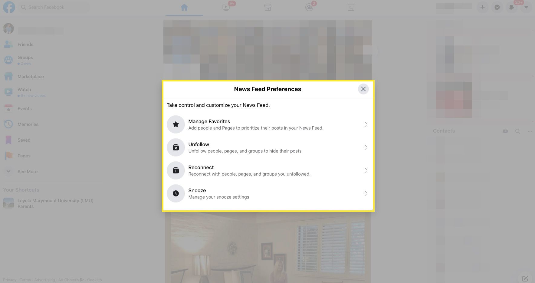 Manage your News Feed Preferences