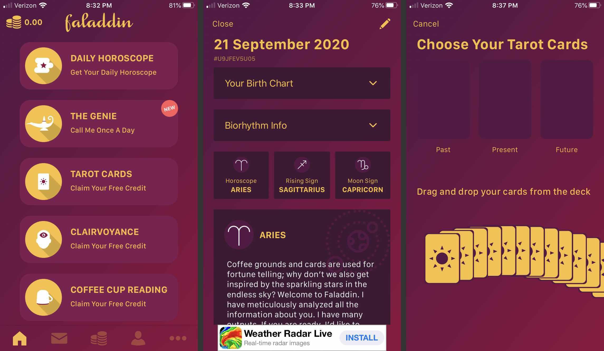 Screenshots of the Faladdin app.