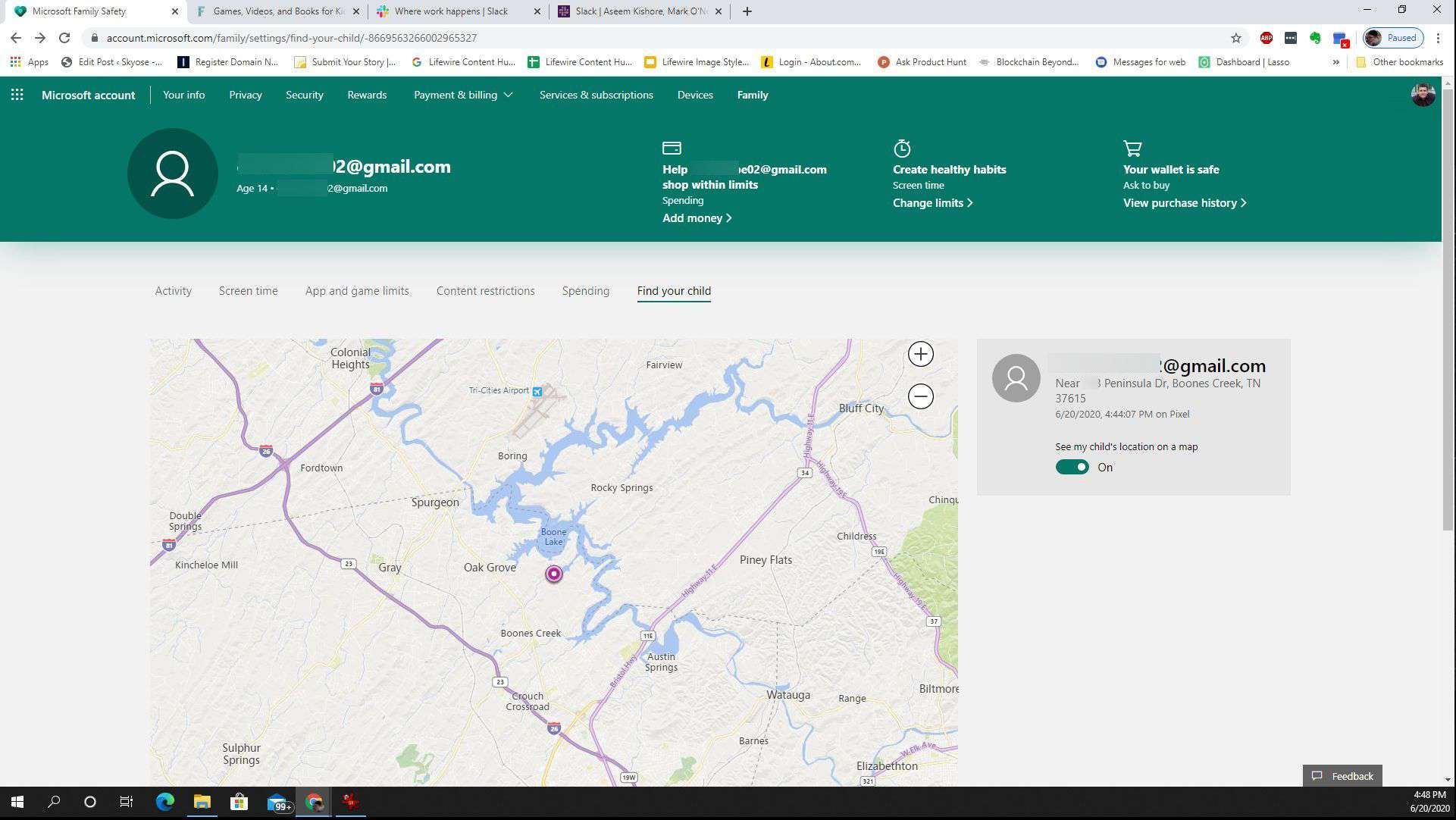 Screenshot of the location feature in Microsoft Family Safety