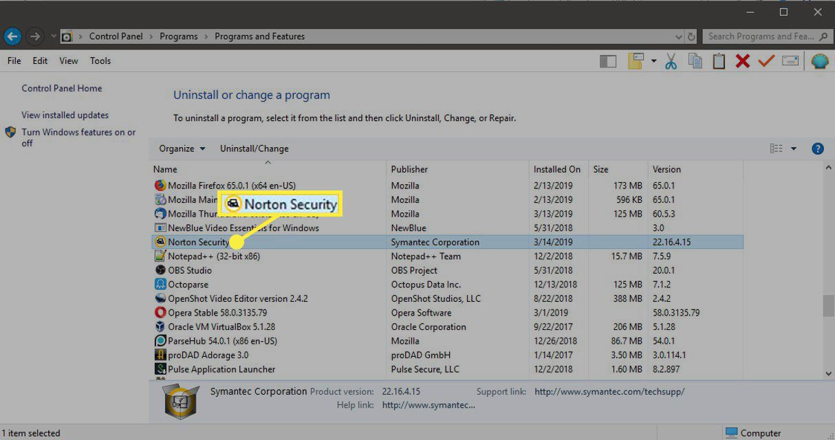 Norton Security in Windows 10 Programs and Features