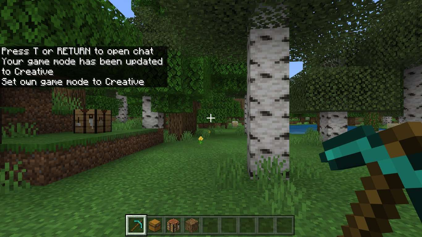 Your game mode has been updated message in Minecraft