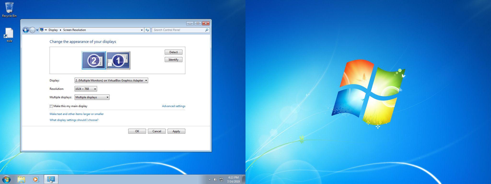 Windows 7 arrange displays