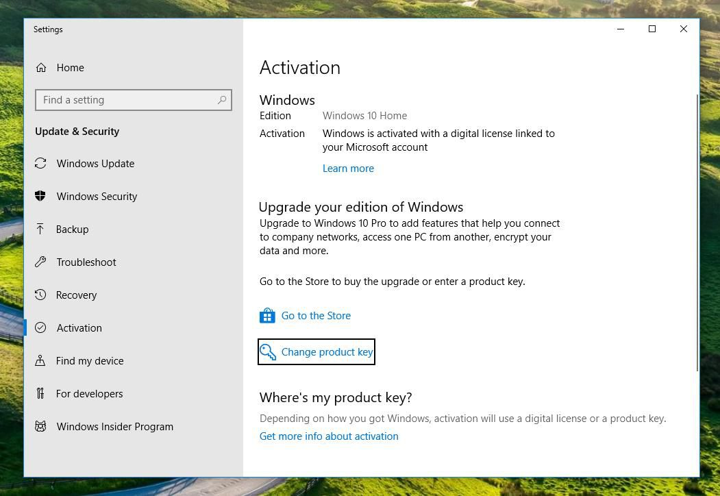 where is product key for windows 10 upgrade