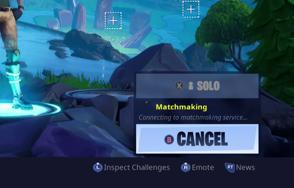 A screenshot of Fortnite showing the solo, duo, and squad match indicator.