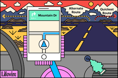 A mobile phone in a car showing Alternate and Quickest Routes
