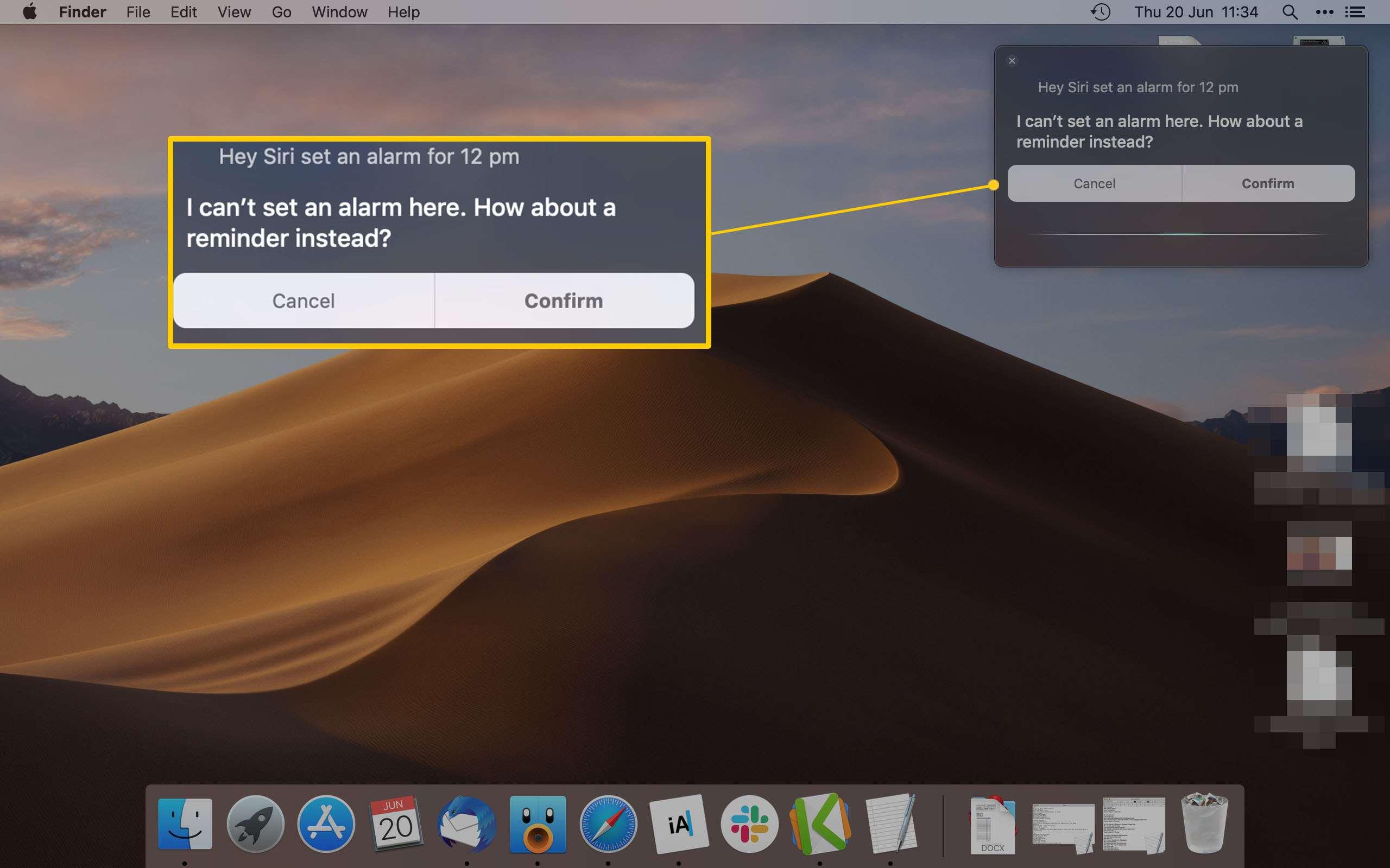 Mac Desktop displaying Siri setting a reminder