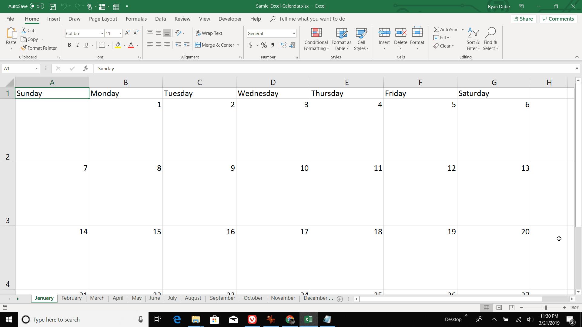 Screenshot of adding all months to Excel calendar