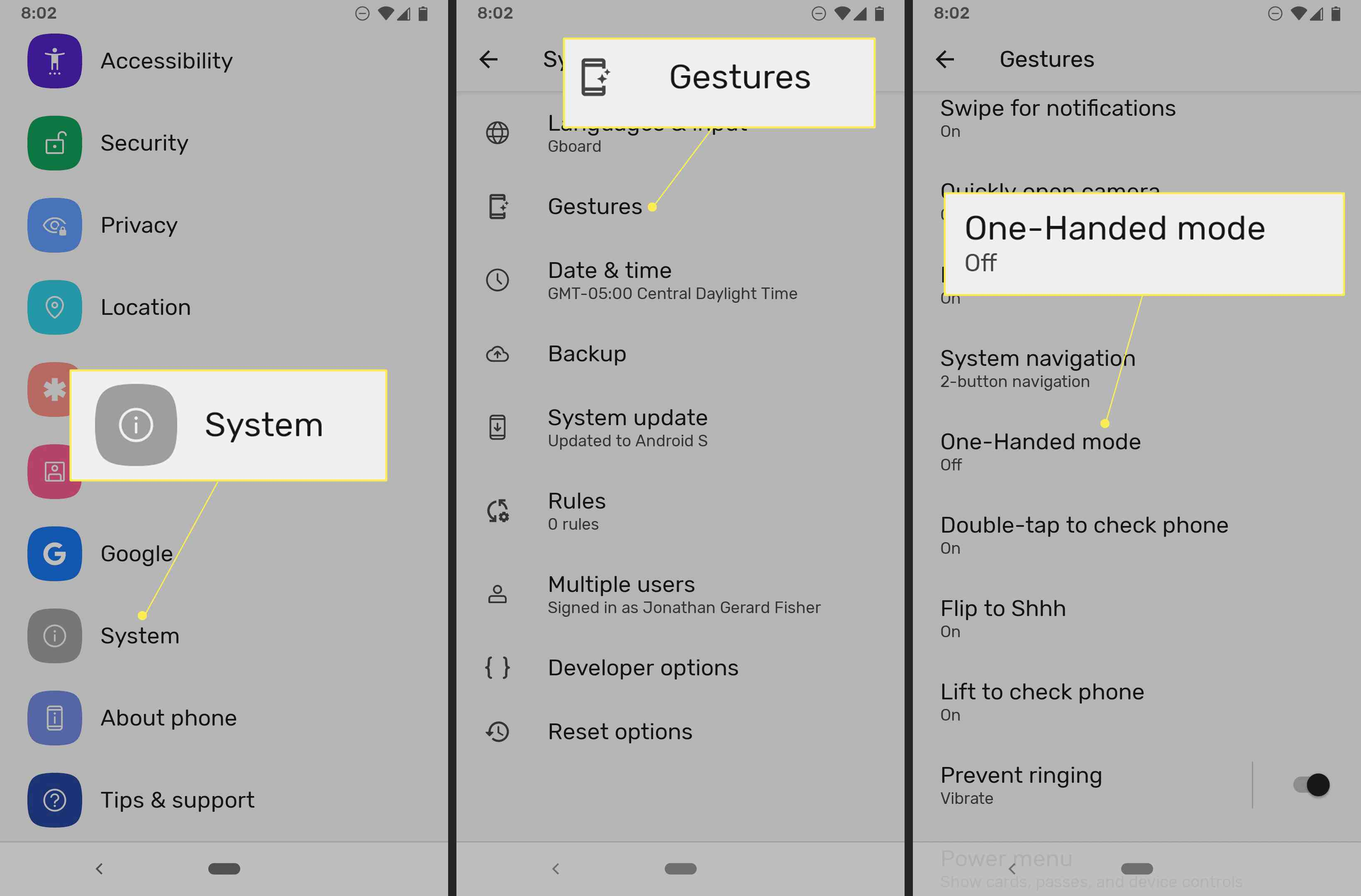 Android 12 Settings with System, Gestures, and One-Handed mode highlighted