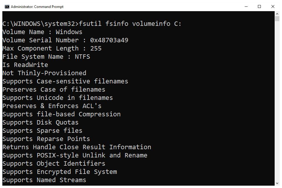 fsutil fsinfo volumeinfo command in Windows 10 Command Prompt