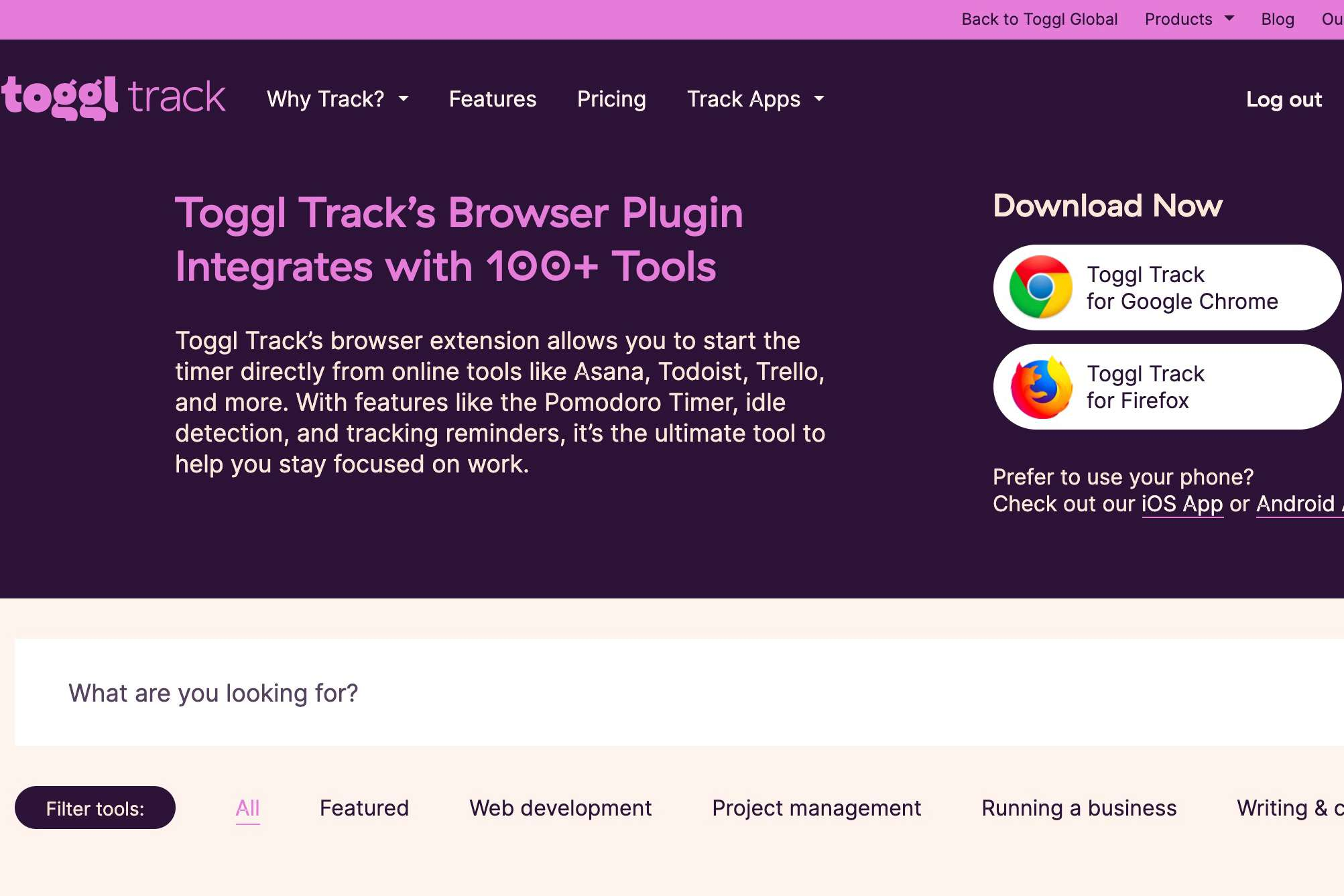 Toggl Track Browser Plugin page