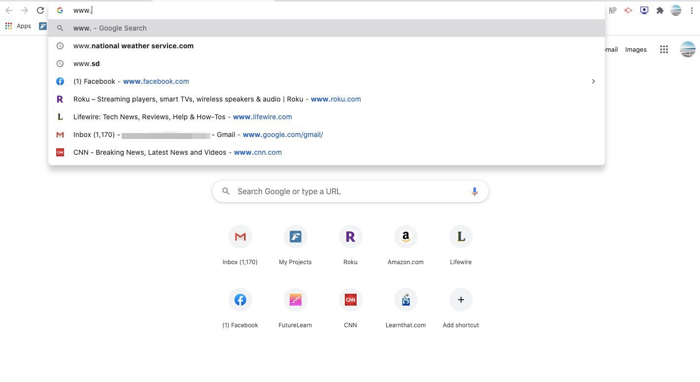 Open a Chrome tab and begin typing in the search bar.