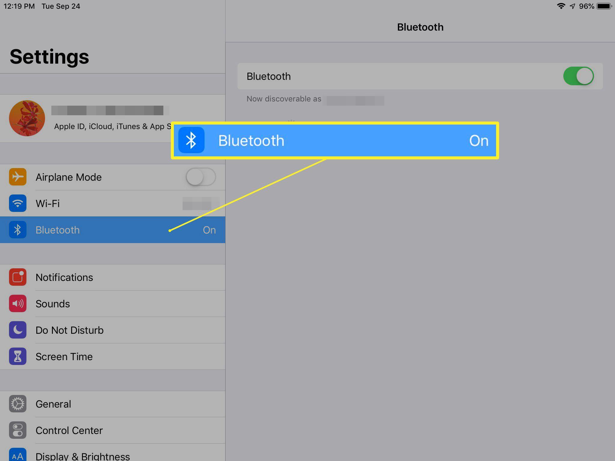 Bluetooth settings on iPad