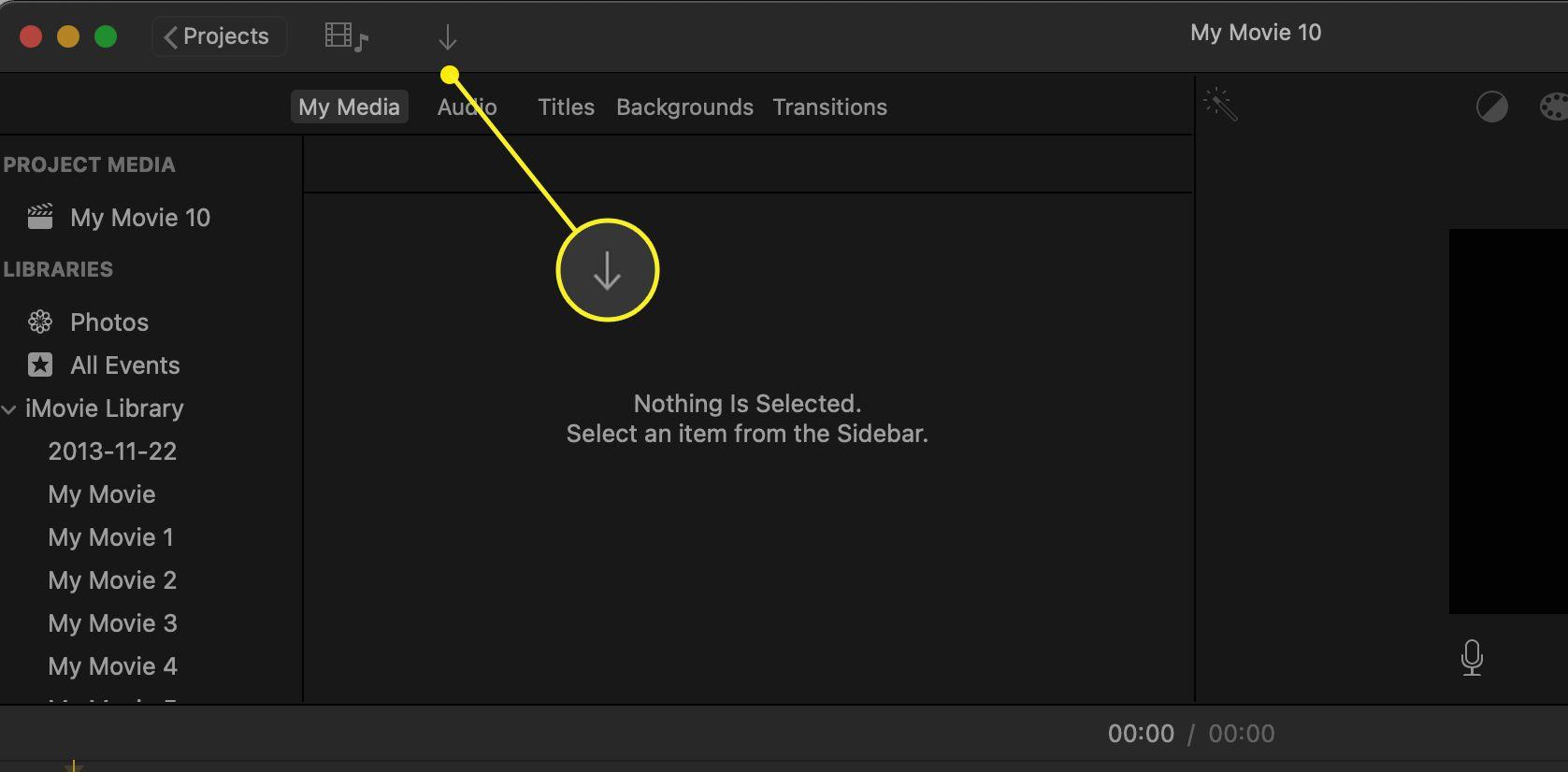 iMovie app showing the import arrow