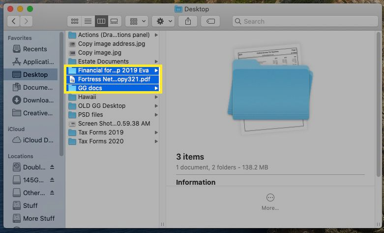 Mac Finder with files and folders highlighted