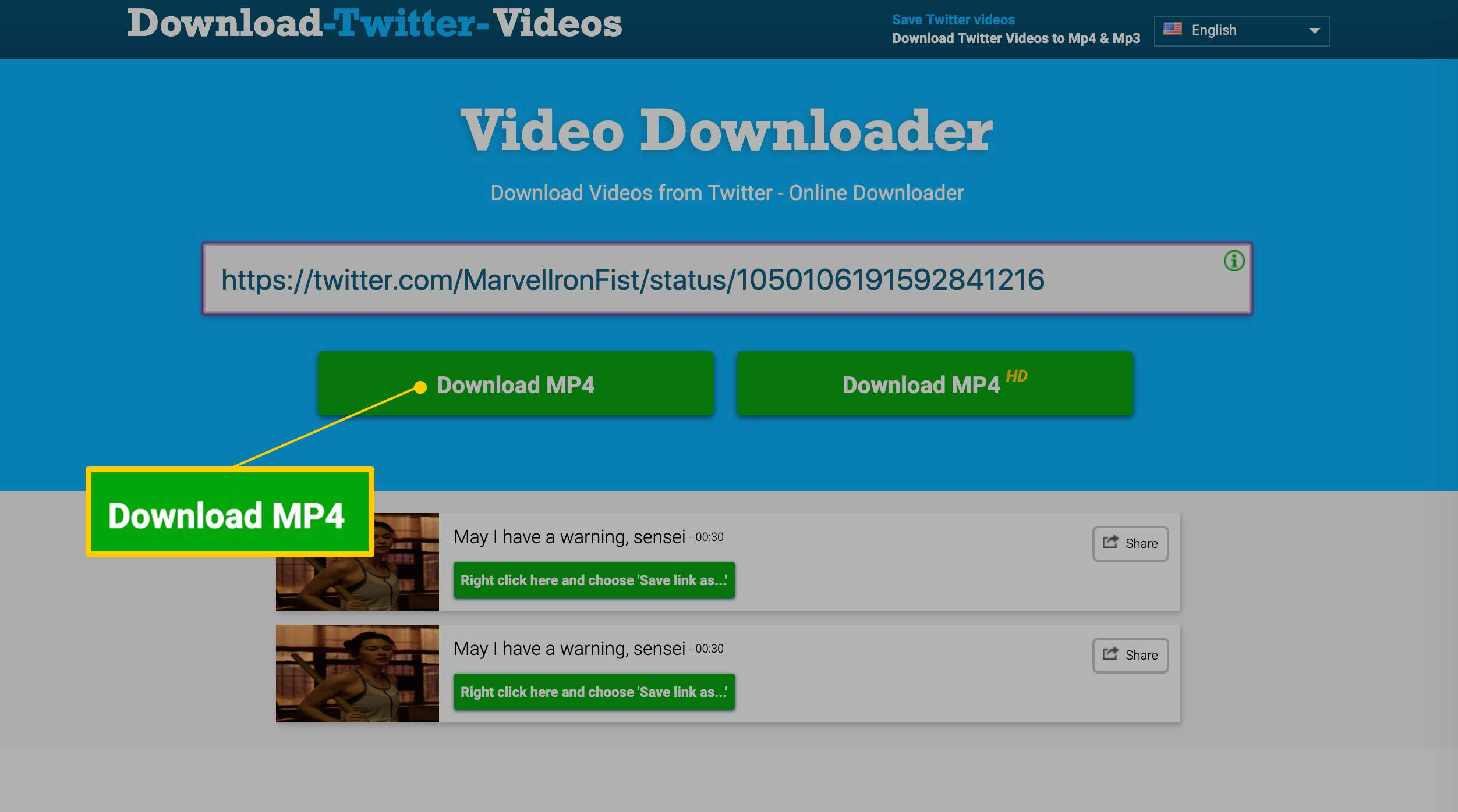 download video from link address
