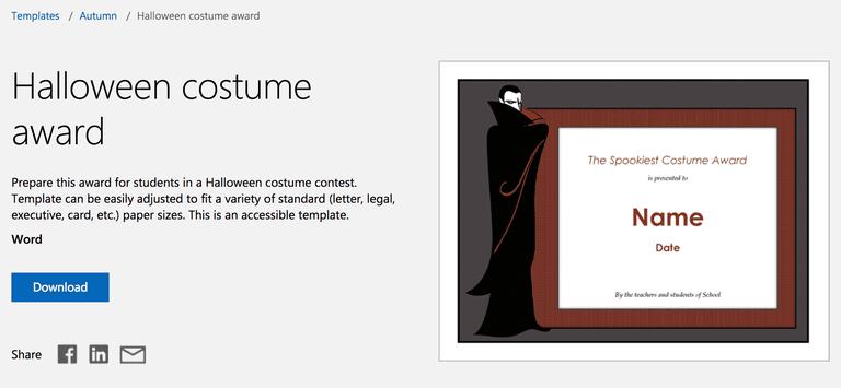 12 free halloween themed templates for microsoft word dracula vampire halloween costume award template for microsoft word yelopaper Gallery