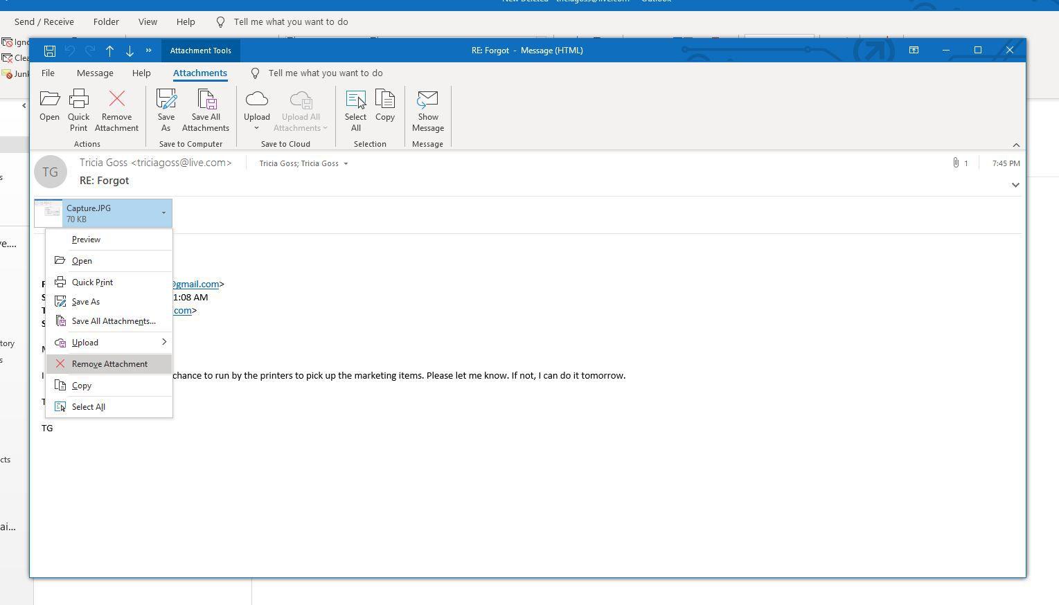 Screenshot of Remove Attachment
