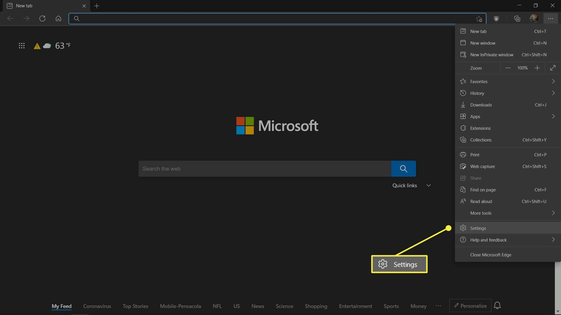 The Microsoft Edge main menu with Settings highlighted.
