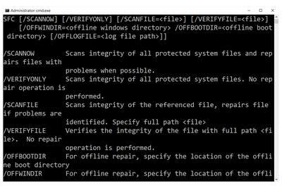 SFC command in Windows 10
