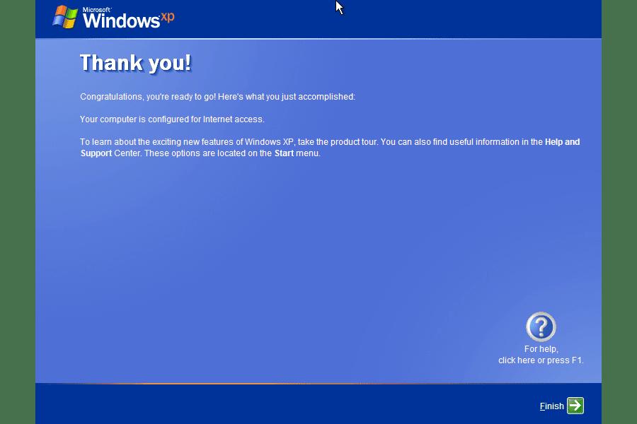 Screenshot of the Thank You screen of the Windows XP Setup Wizard
