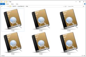 Screenshot of several MOBI files in Windows 10