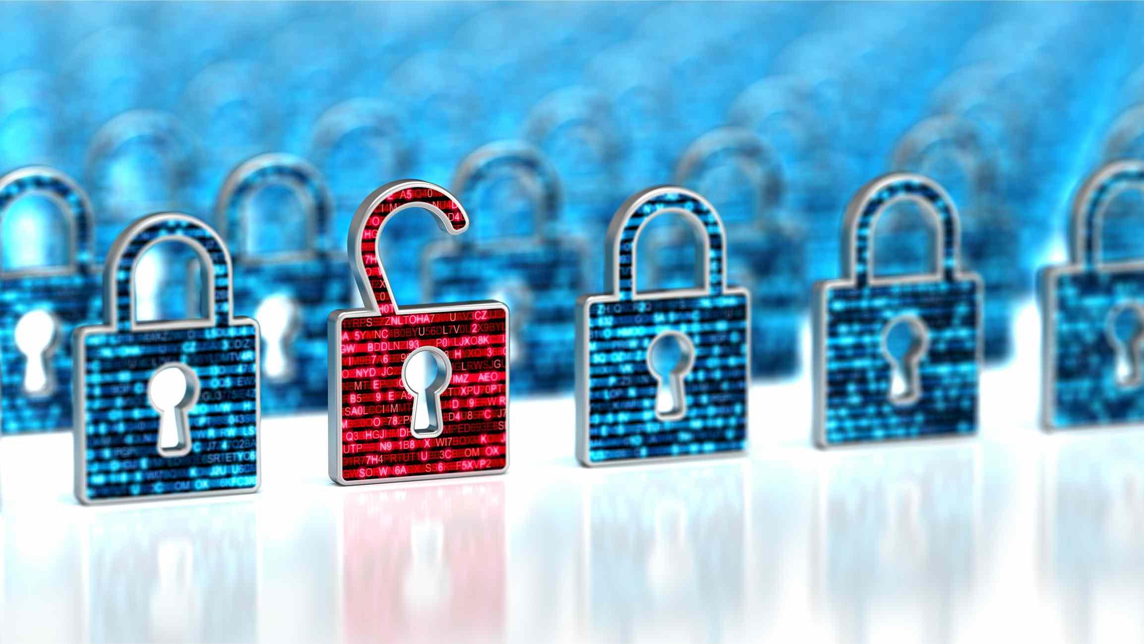Data breach illustrated by digital red lock