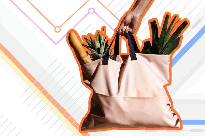 Photo composite of someone holding a canvas bag with groceries inside.
