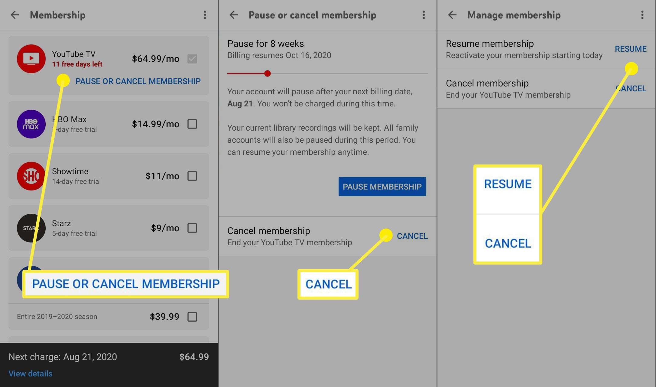 The steps to take to cancel your membership on the YouTube TV mobile app.