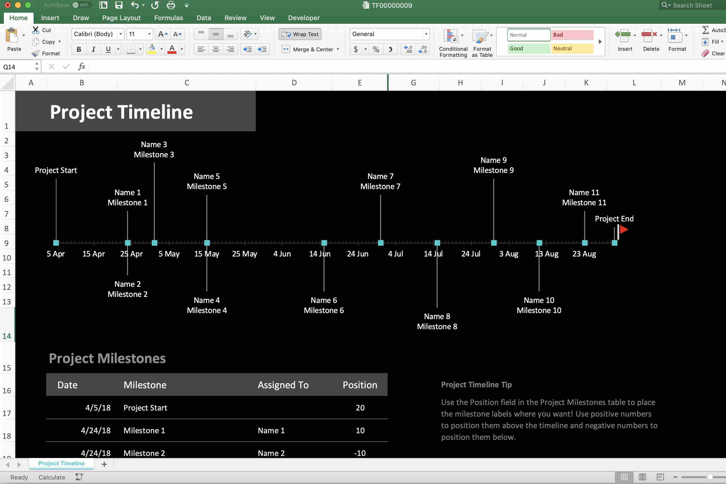 How to Use an Excel Timeline Template