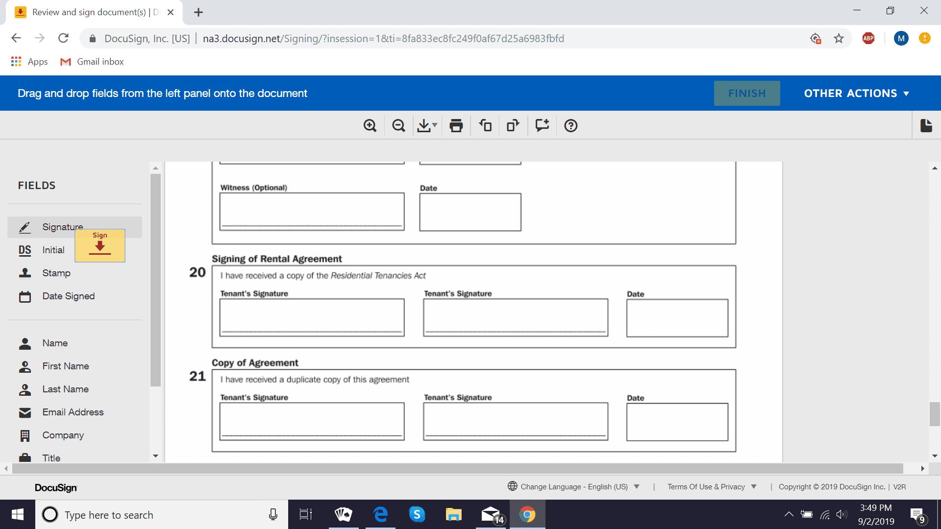 DocuSign add signature