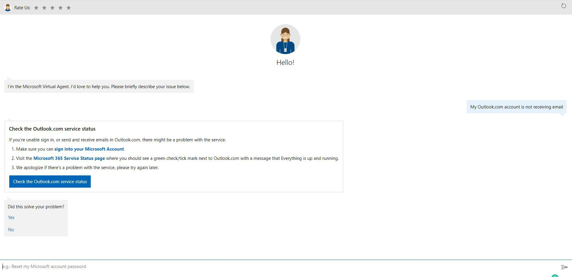 Microsoft Virtual Agent chat