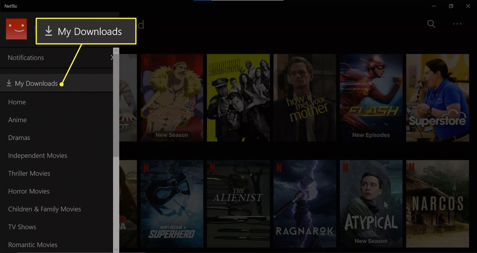 Accessing My Downloads in Netflix Windows app.