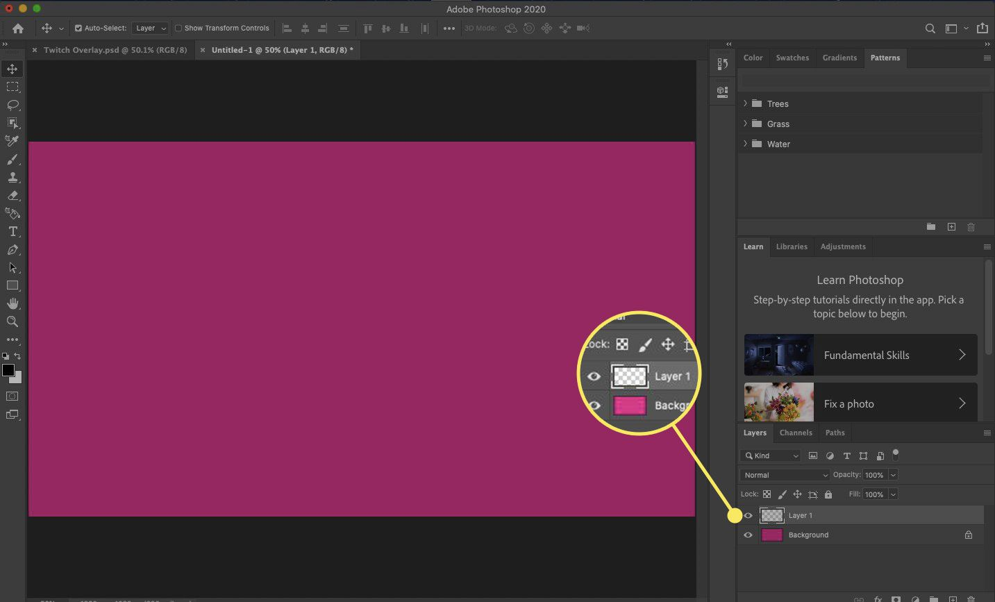 A new layer in Photoshop