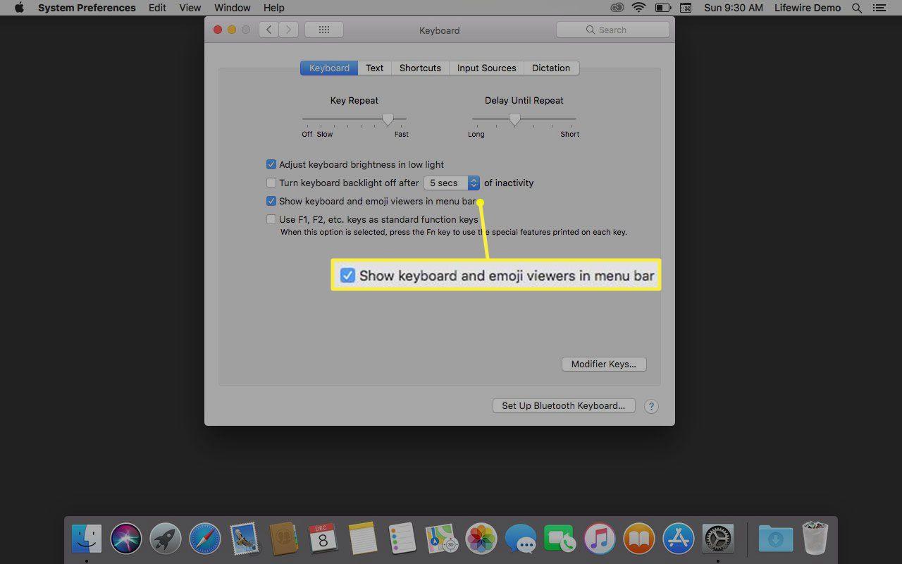 Show keyboard and emoji viewers in menu bar