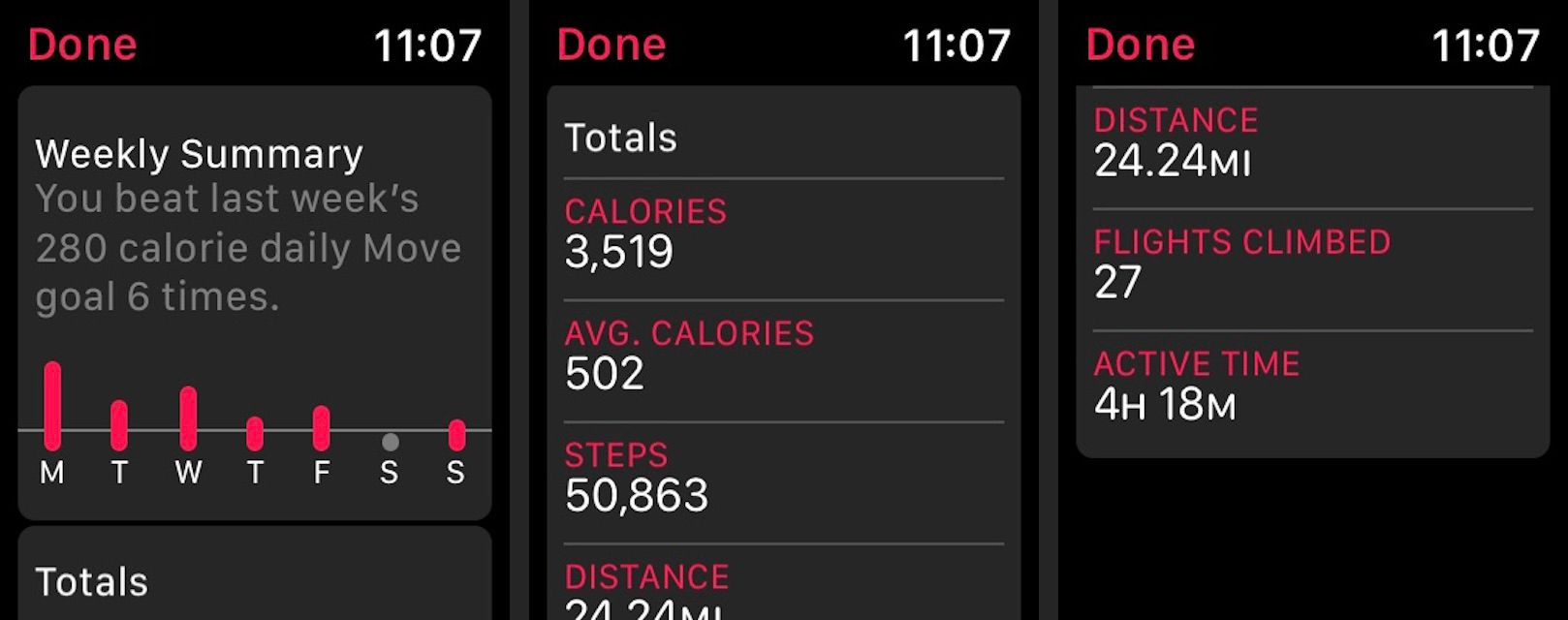 View your Weekly activity summary on the Apple Watch Activity app