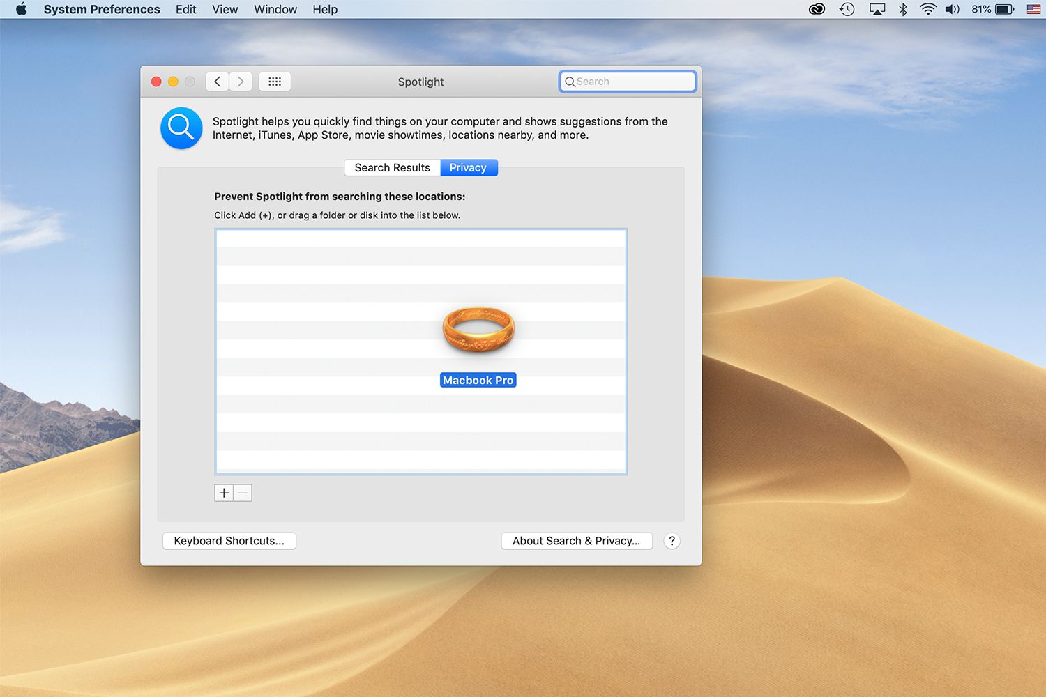 Spotlight privacy settings screen with Hard drive icon