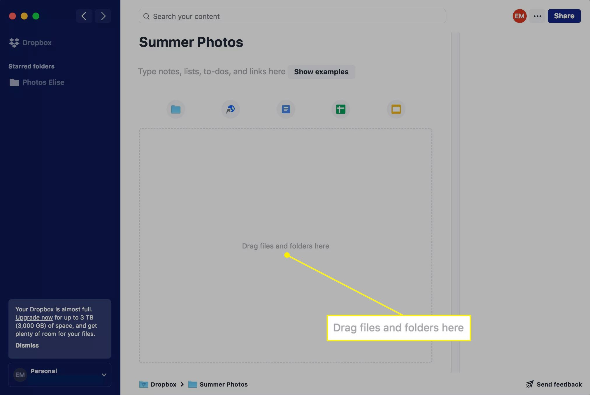 Dropbox new folder screen with Drag files and folders here highlighted
