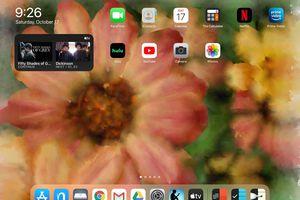 The home screen of an iPad running iPadOS 14.