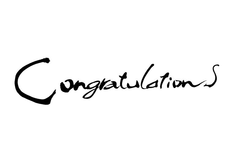Congratulations text in cursive script